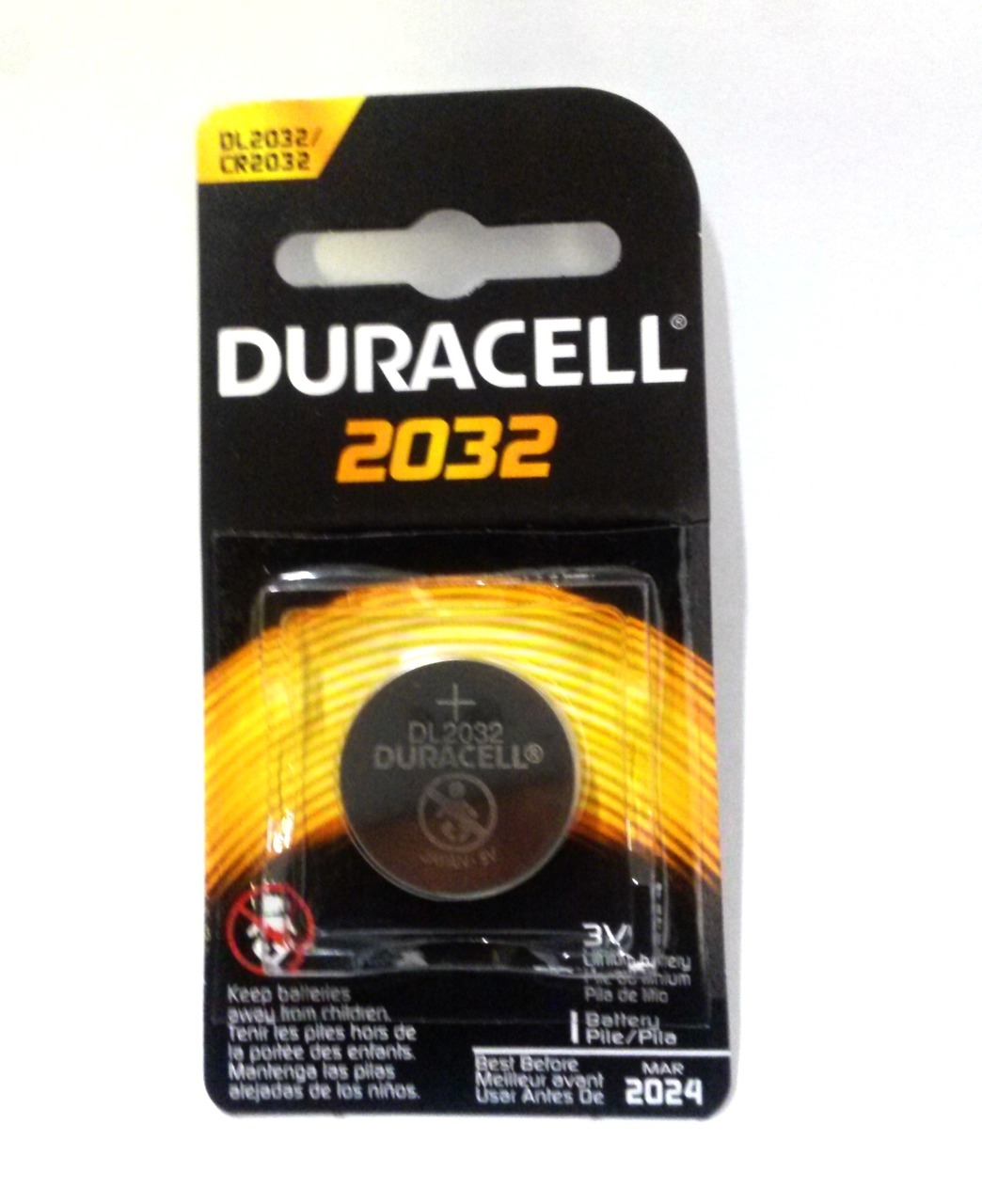 Duracell CR2032 Coin Battery - 1 Pack Retail Carded