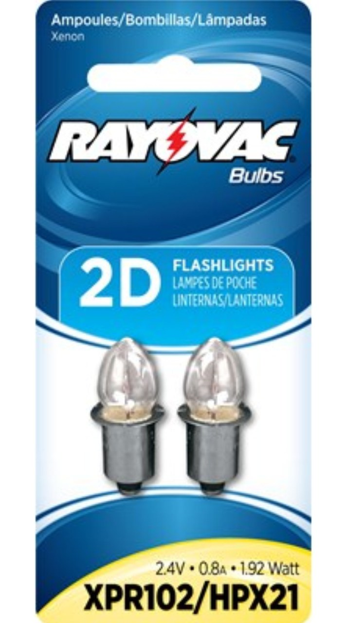 2 Bulbs - Rayovac Xenon Bulbs For 2AA 2C and 2D Flashlights XPR102/HPX21 + FREE SHIPPING!