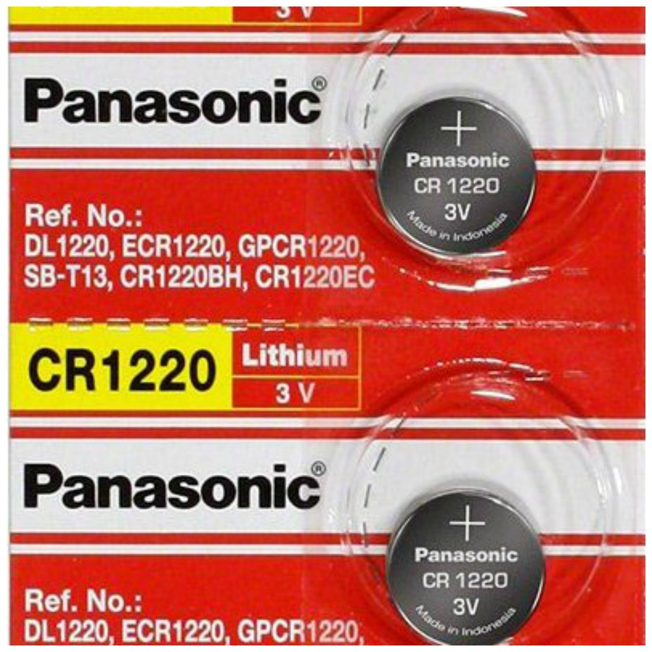 Panasonic CR1220 3V Lithium Coin Battery - 2 Pack + FREE SHIPPING!
