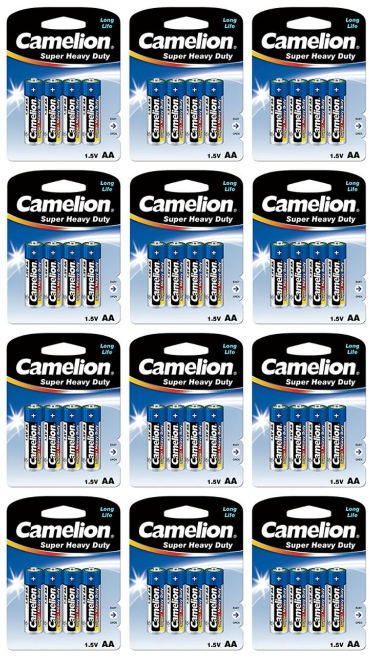 Camelion AA Size Super Heavy Duty Batteries 100 Pack - Retail Carded + Free Shipping