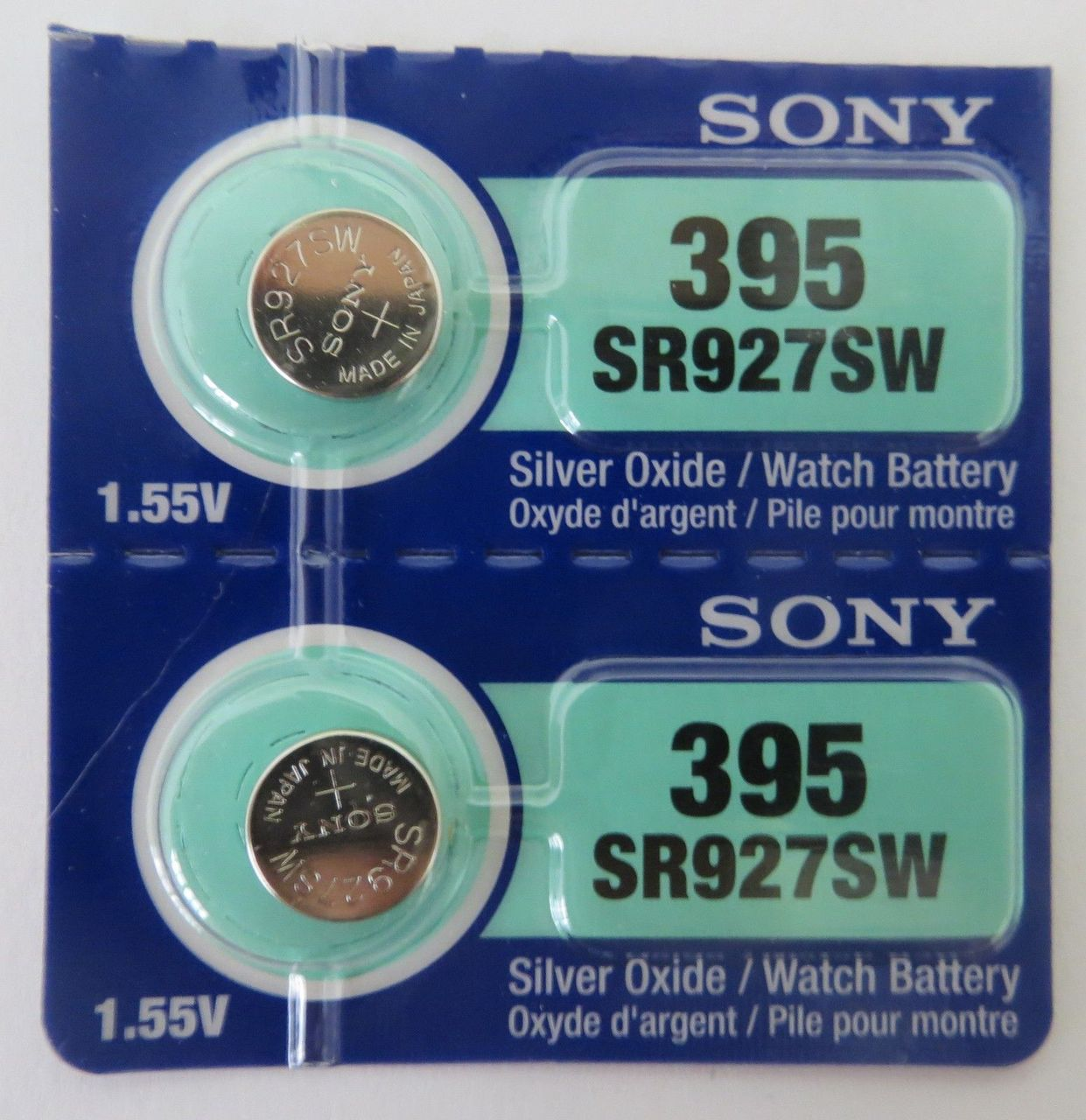 Sony 395/399 - SR927 Silver Oxide Button Battery 1.55V - 2 Pack + FREE SHIPPING!