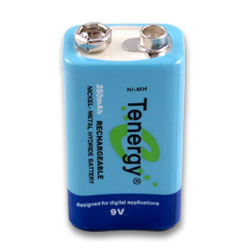 Tenergy High Capacity 9V NiMH 250 MAh Rechargeable Battery