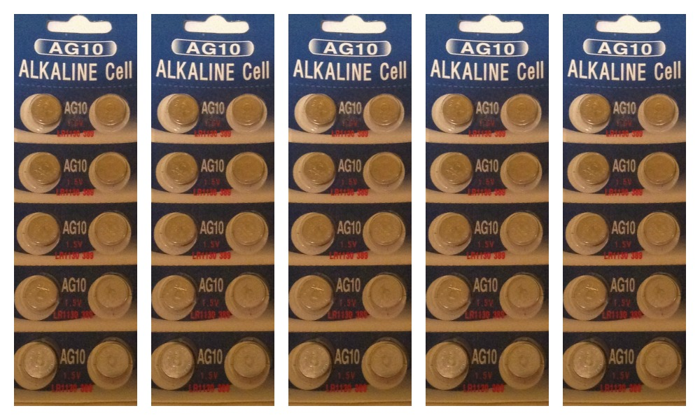 AG10 / LR1130 Alkaline Button Watch Battery 1.5V - 50 Pack + FREE SHIPPING!