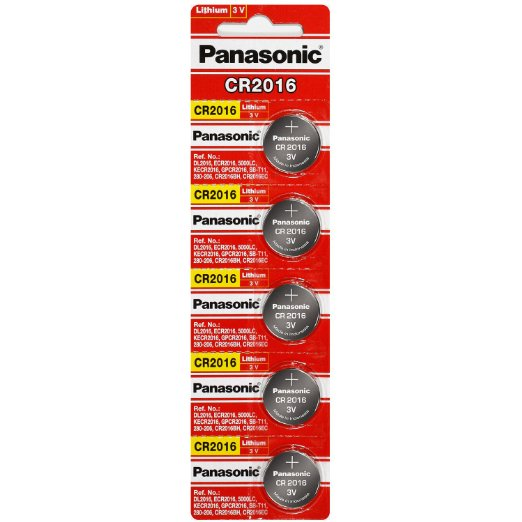 Panasonic CR2016 3V Lithium Coin Battery - 5 Pack + FREE SHIPPING!