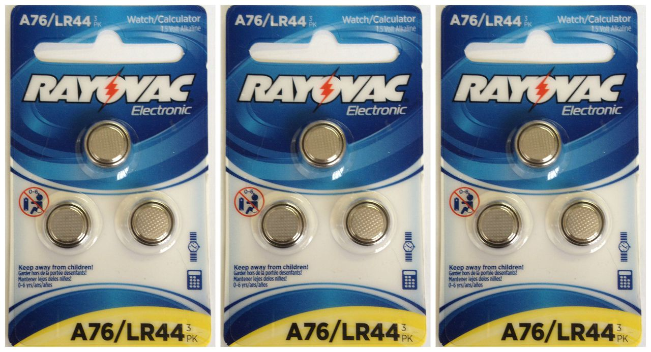 Rayovac A76 / LR44 - A76 Alkaline Button Battery 1.5V - 12 Pack On Retail Cards + FREE SHIPPING!