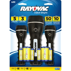 Rayovac Value Bright Flashlights LED 2AA And 2D Robust Rubberized 3 Pack + Free Shipping