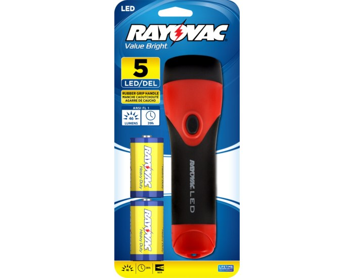 Rayovac Value Bright 5 LED 2D Rubber Flashlight With 2 D Batteries + FREE SHIPPING!