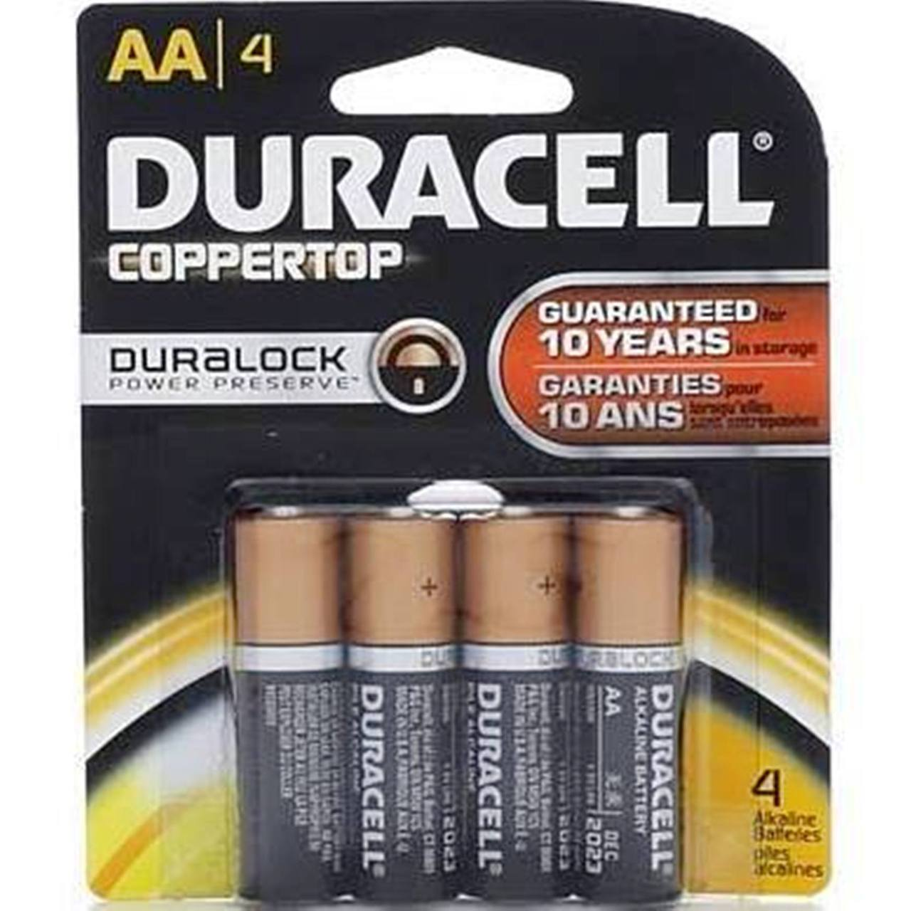 Duracell Coppertop Duralock AA - Original Retail 4 Pack Carded + FREE SHIPPING!