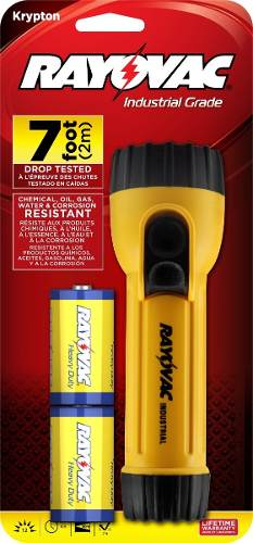 Rayovac Industrial Grade Flashlight With 2 D  Batteries + FREE SHIPPING!