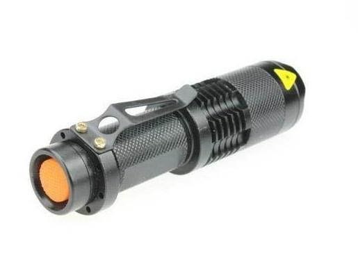 Cree Q5 3 Mode Mini LED Adjustable Focus Flashlight Black - Takes 1 AA Battery + FREE SHIPPING!