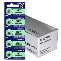 Sony 377/376 - SR626SW Silver Oxide Button Battery 1.55V - 5 Pack - FREE SHIPPING