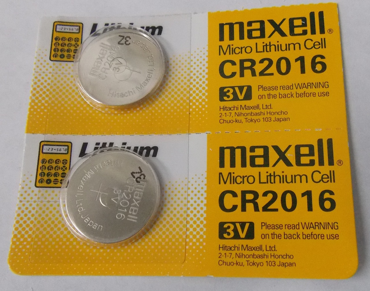 Maxell CR2016 3 Volt Lithium Coin Battery - 2 Pack -  FREE SHIPPING!