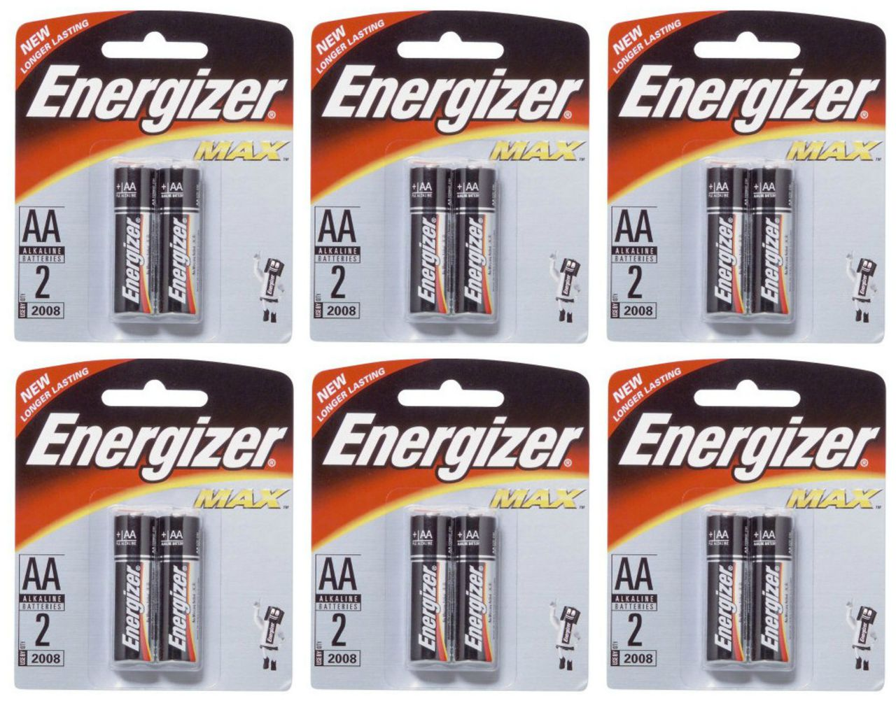 Energizer Max AA - 2 Pack Retail Carded - 12 Cards + Free Shipping