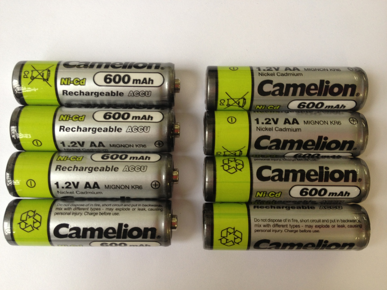 Camelion AA Rechargeable NiCD Batteries 600mAH 8 Pack + FREE SHIPPING!