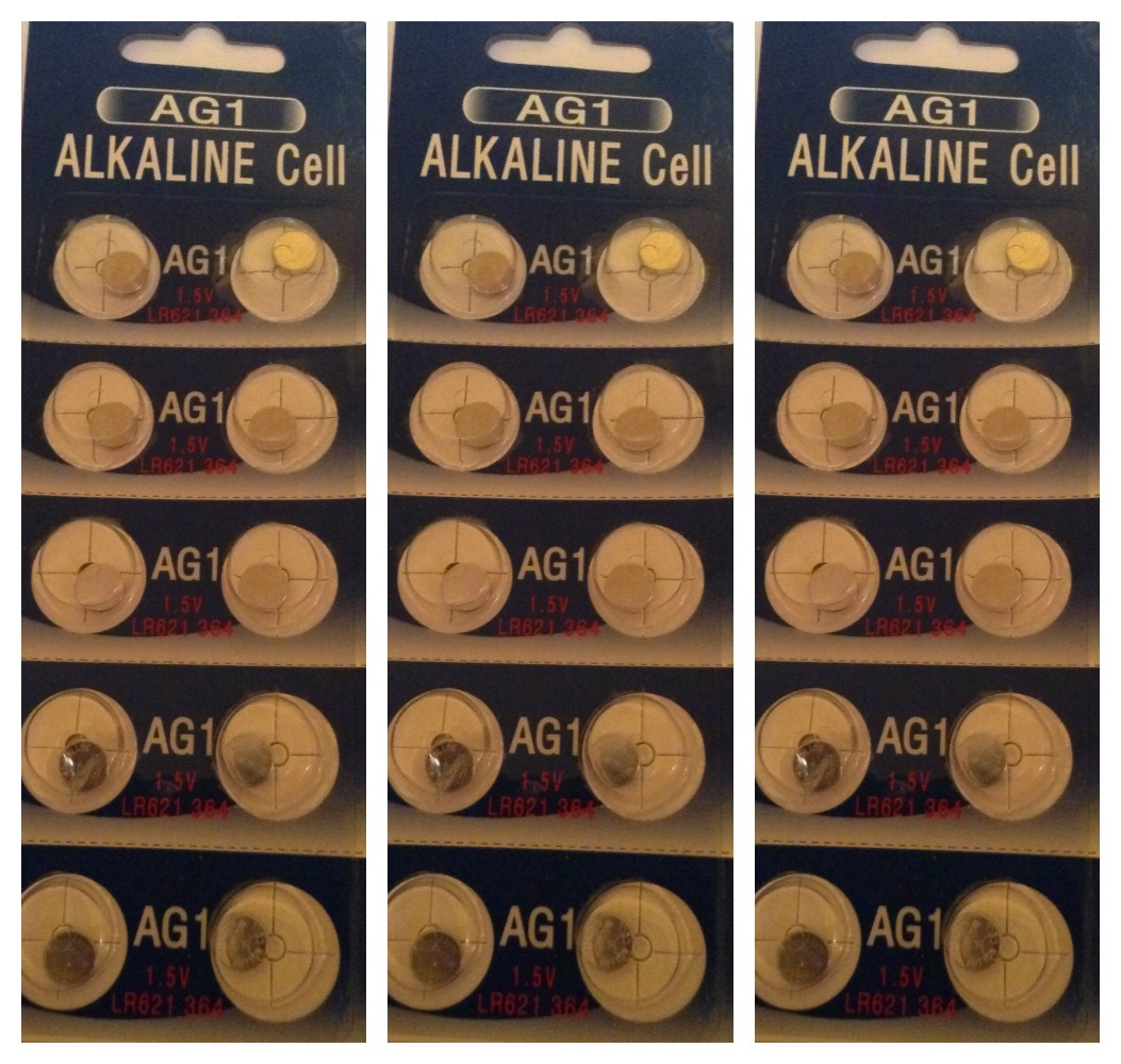 AG1 / LR621 Alkaline Button Watch Battery 1.5V - 30 Pack - FREE SHIPPING