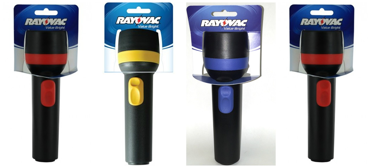 (Pack Of 4) Rayovac Value Bright 2D Economy Flashlights - 9 Lumens - Each Uses 2 D Batteries + FREE SHIPPING!