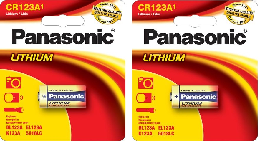 Panasonic CR123A 3.0V Photo Lithium Battery CR123 - 2 PACK - Retail Cards EXP 2025+ FREE SHIPPING