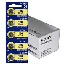 Sony LR43 - 186 Alkaline Button Battery 1.5V - 100 Pack - FREE SHIPPING