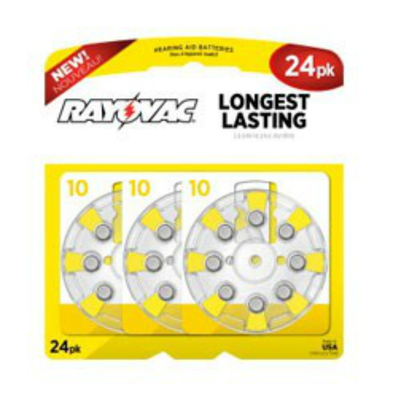 (Pack Of 24) Rayovac Size 10 Long Lasting Hearing Aid Batteries -  EXP10/2019 + FREE SHIPPING