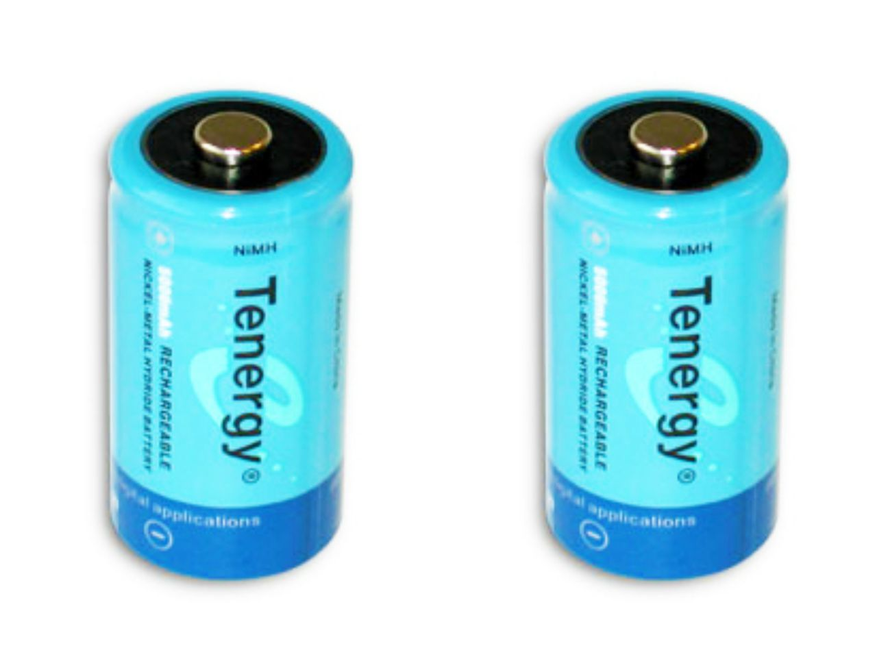 Tenergy 2 Pcs C Size 5000mAh High Capacity High Rate NiMH Rechargeable Batteries + FREE SHIPPING!