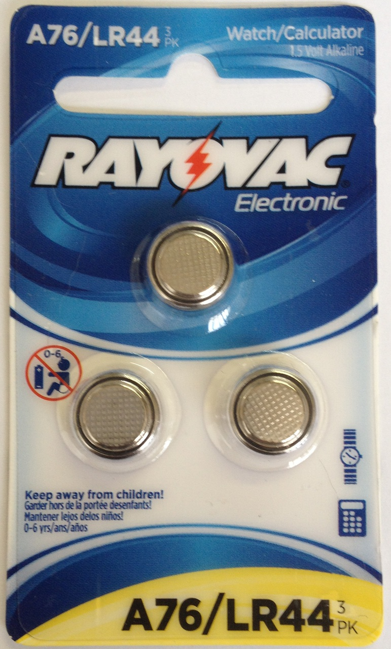 Rayovac A76 / LR44 - A76 Alkaline Button Battery 1.5V - 3 Pack On Retail Card + FREE SHIPPING!