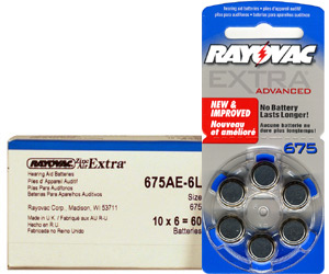 Rayovac 675AE Hearing Aid Batteries 10 Wheels 6 Per Wheel + FREE SHIPPING