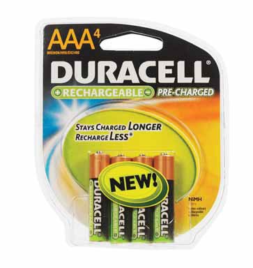 Duracell AAA Rechargeable - Stay Charged Battery - 4 Pack + FREE SHIPPING