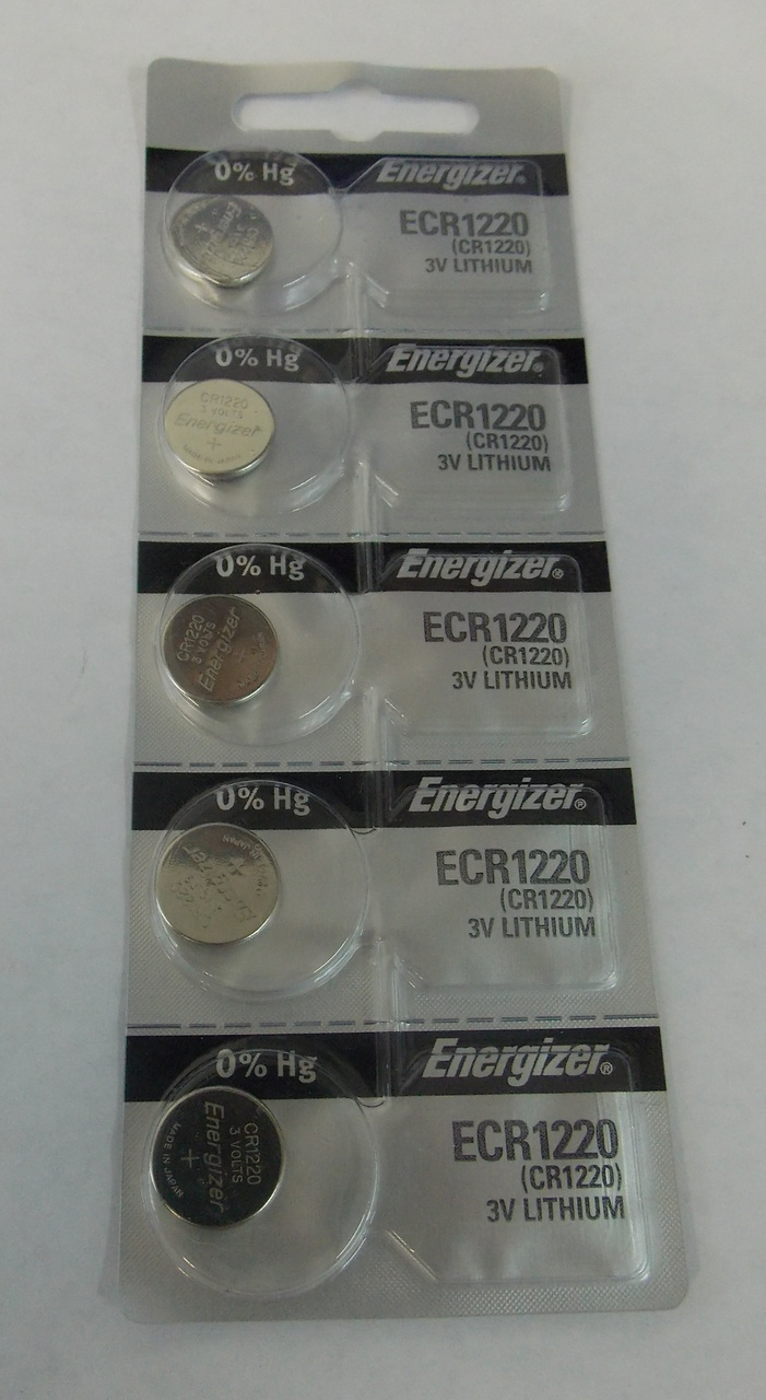Energizer CR1220 3V Lithium Coin Battery - 5 Pack + FREE SHIPPING!