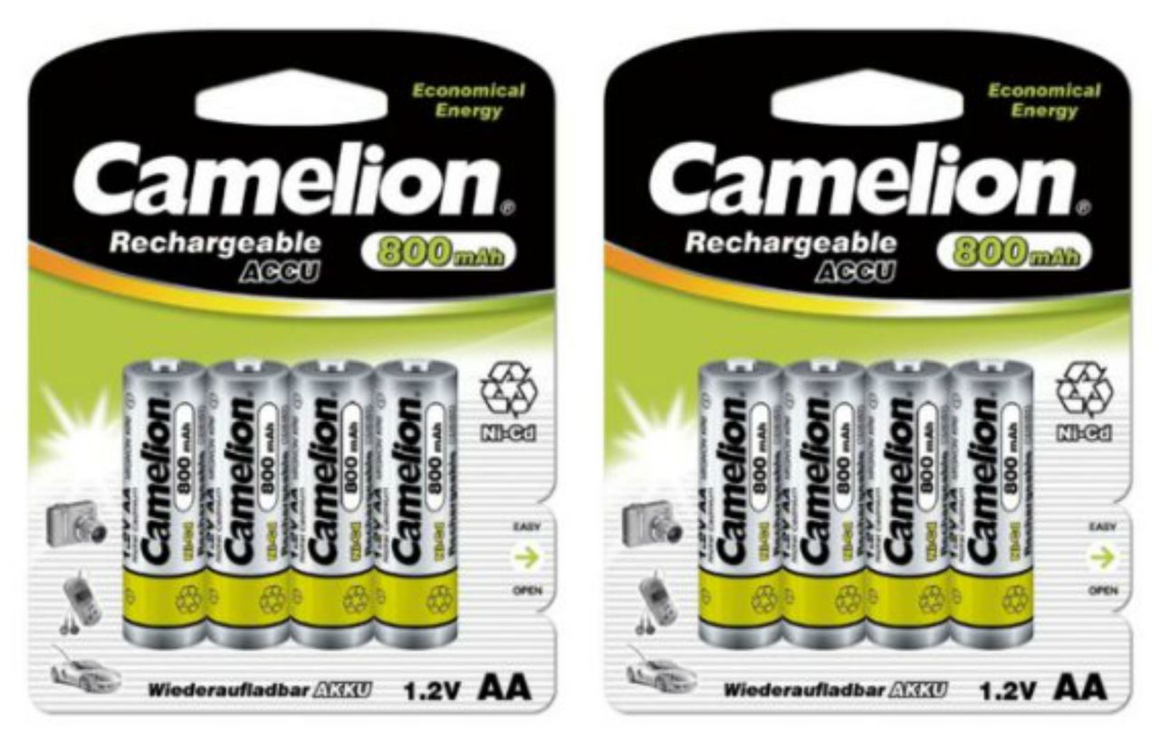 Camelion AA Rechargeable NiCD Batteries 800mAH 8 Pack Retail + FREE SHIPPING!