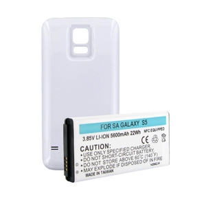 SAMSUNG GALAXY S5 EXTENDED BATTERY W/NFC WHITE COVER + FREE SHIPPING