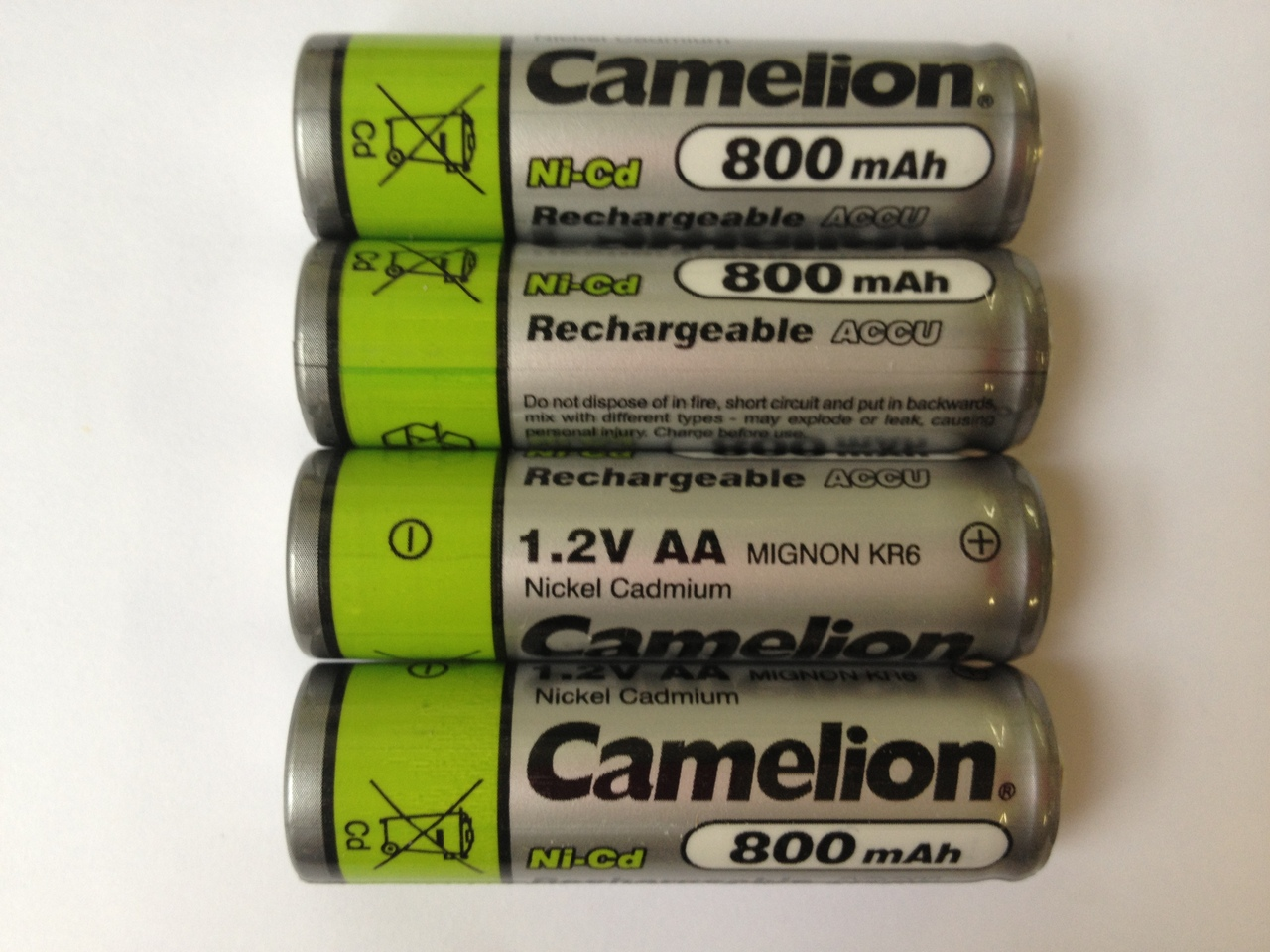 Camelion AA Rechargeable NiCD Batteries 800mAH 4 Pack + FREE SHIPPING!