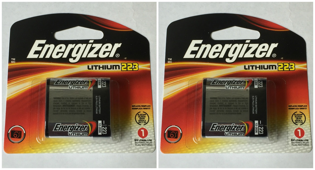 Energizer 223 6V  Lithium Photo Battery CRP2 CR17-33 - 2 Pack + FREE SHIPPING
