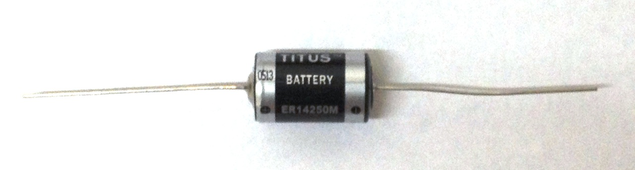 Titus 1/2 AA Size 3.6V ER14250MFAX High Energy Lithium Battery With Axial Wire Leads - 1 Pack + Free Shipping!