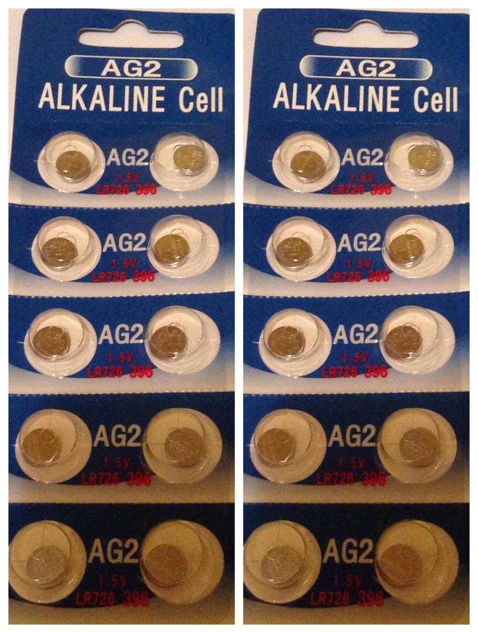 AG2 / LR726 Alkaline Button Watch Battery 1.5V - 20 Pack - FREE SHIPPING