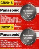 Panasonic CR2016 3V Lithium Coin Battery - 2 Pack + FREE SHIPPING!