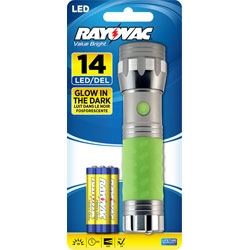 Rayovac Value Bright 14 LED 3AAA Glow In The Dark Flashlight - Batteries Included + Free Shipping
