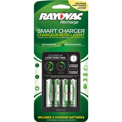 Rayovac Recharge Smart Charger For AA And AAA Batteries - Includes 4 AA Batteries + Free Shipping