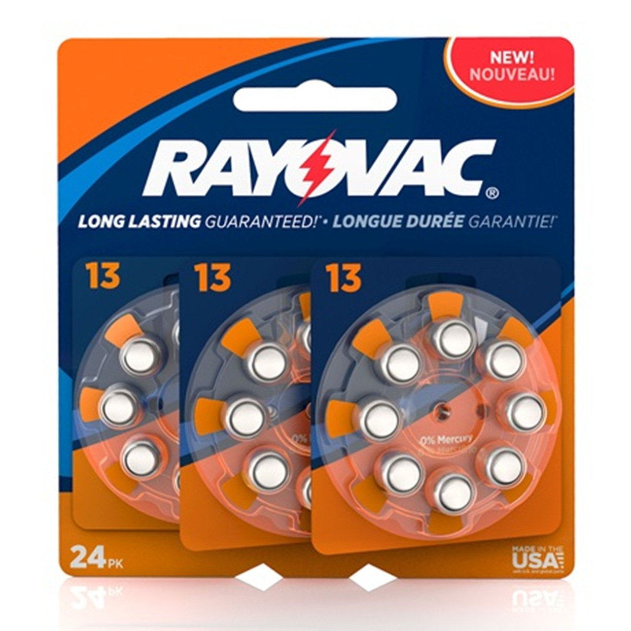 Rayovac Hearing Aid Batteries Size 13 - 24 Batteries + FREE SHIPPING!