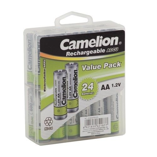 Camelion AA Rechargeable NiCD Batteries 600mAH 24 Pack  + FREE SHIPPING!